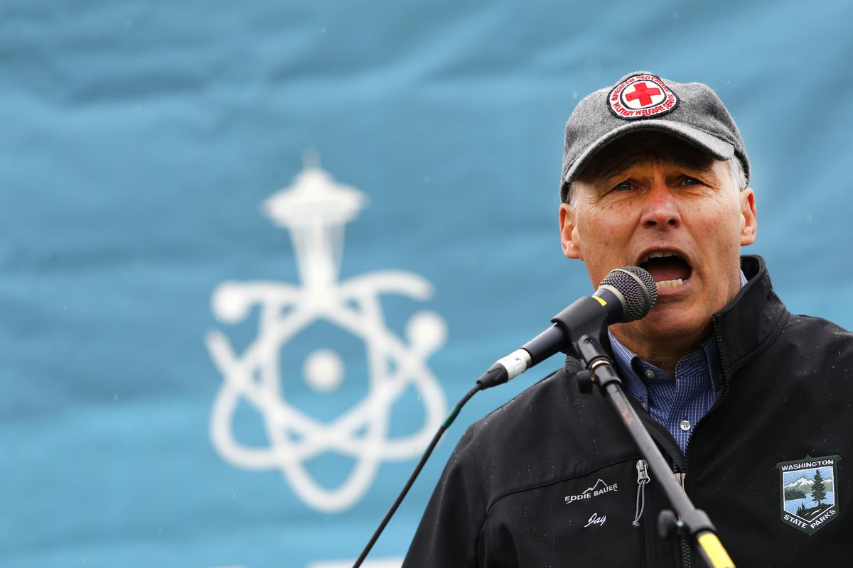 SEATTLE, WA - APRIL 22: Washington state Governor Jay Inslee speaks at a rally during the March for Science at Cal Anderson Park on April 22, 2017 in Seattle, Washington. Participants were advocating for science that upholds the common good and for politi