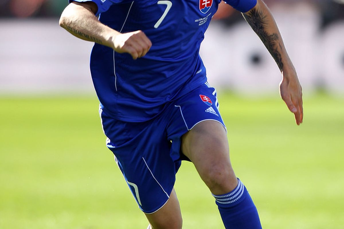 Vladimir Weiss in action against New Zealand in the 1-1draw earlier today. (Picture from Getty images)