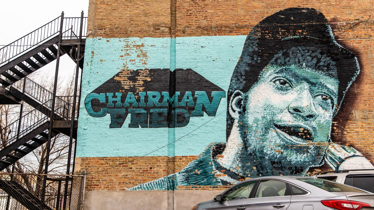 A decade-old mural of Black Panthers leader Fred Hampton Sr. on a three-story building at 2746 W. Madison St.