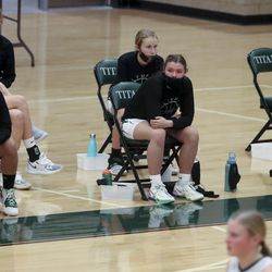 The Olympus bench social distances during a game against Highland at Olympus High School in Holladay on Tuesday, Jan. 5, 2021.