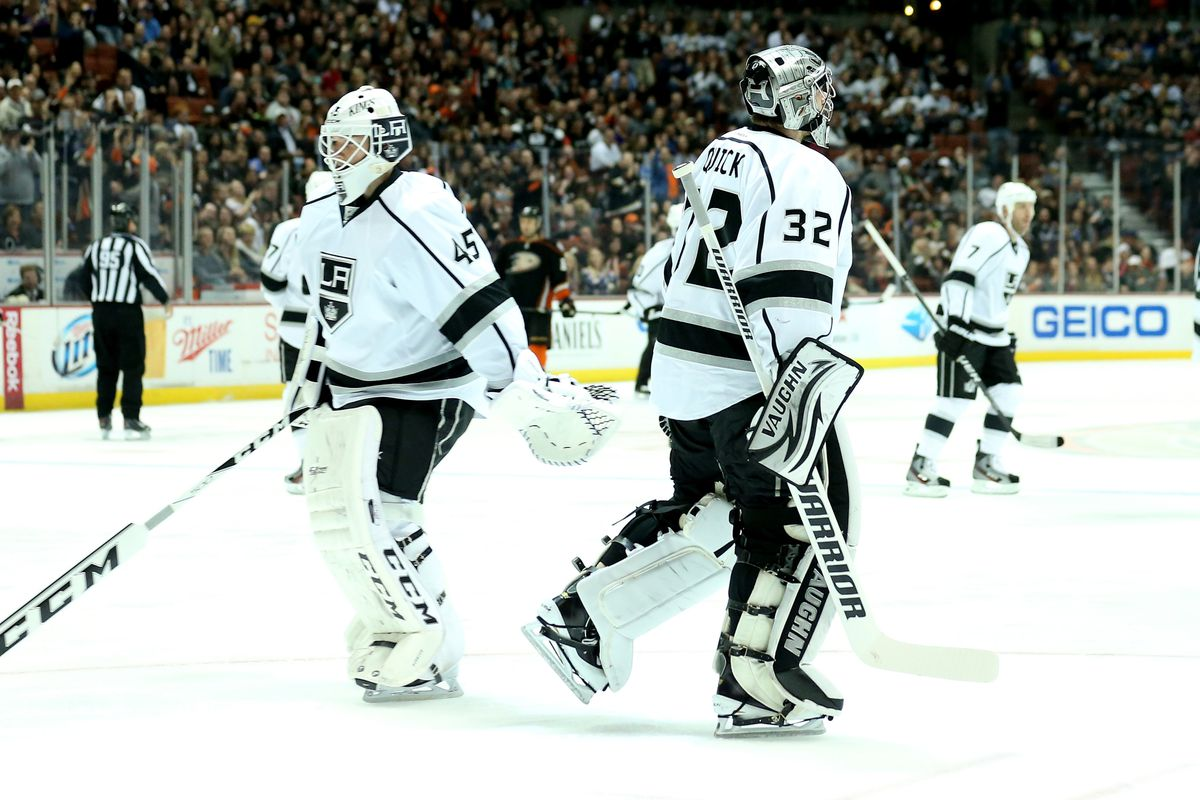 Jonathan Quick gave up two goals on three shots and was pulled. Bernier was only slightly better.
