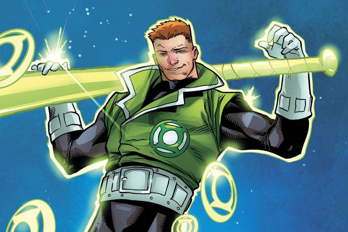 Guy Gardner holding his Green Lantern bat in DC Comics