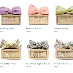 """Just like the DIY touches of the ceremony, these <a href=""""http://forage.bigcartel.com/category/b-o-w-t-i-e-s"""">bowties</a> are handcrafted—from vintage fabric remnants, no less. (Bowties, $68 by Philly's Forage)"""