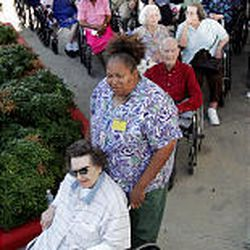Edgewater Retirement Community residents wait to be loaded onto a bus as they are evacuated from Galveston Island as Hurricane Rita bears down on the coast of Texas.