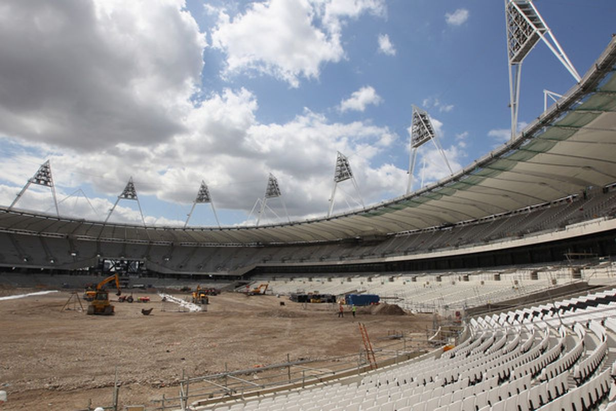 LONDON ENGLAND - JULY 05:  A general view of the Olympic Stadium as the 2012th seat is fitted at the Olympic Stadium on July 5 2010 in London England.  (Photo by Phil Cole/Getty Images)