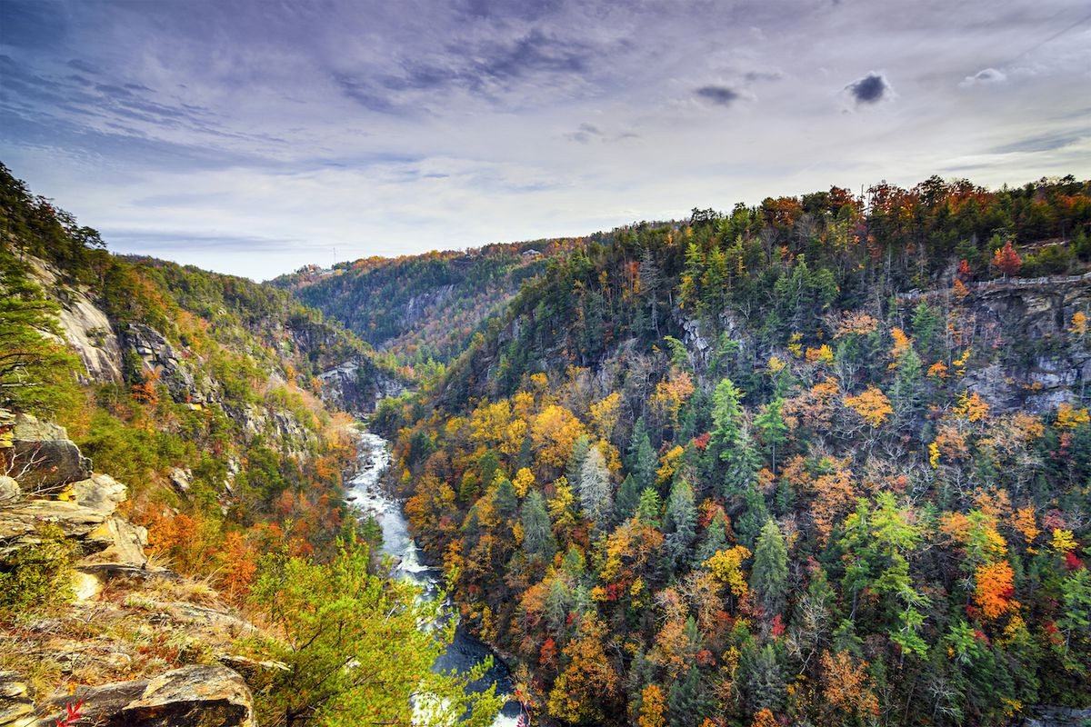 Mountains covered in fall color with river running down the middle.