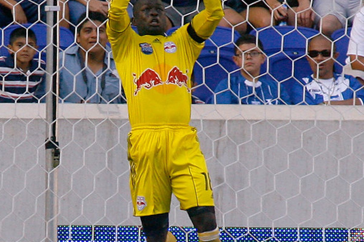 Goalkeeper Bouna Coundoul (18) of the New York Red Bulls makes a leaping save against the Colorado Rapids during the game at Red Bull Arena on September 11 2010 in Harrison New Jersey. (Photo by Andy Marlin/Getty Images )