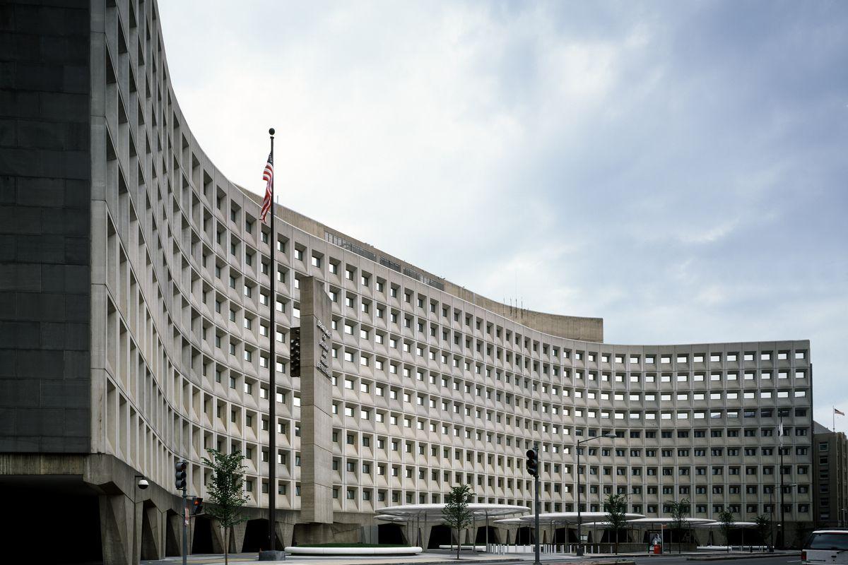 HUD headquarters, a gray brutalist building.