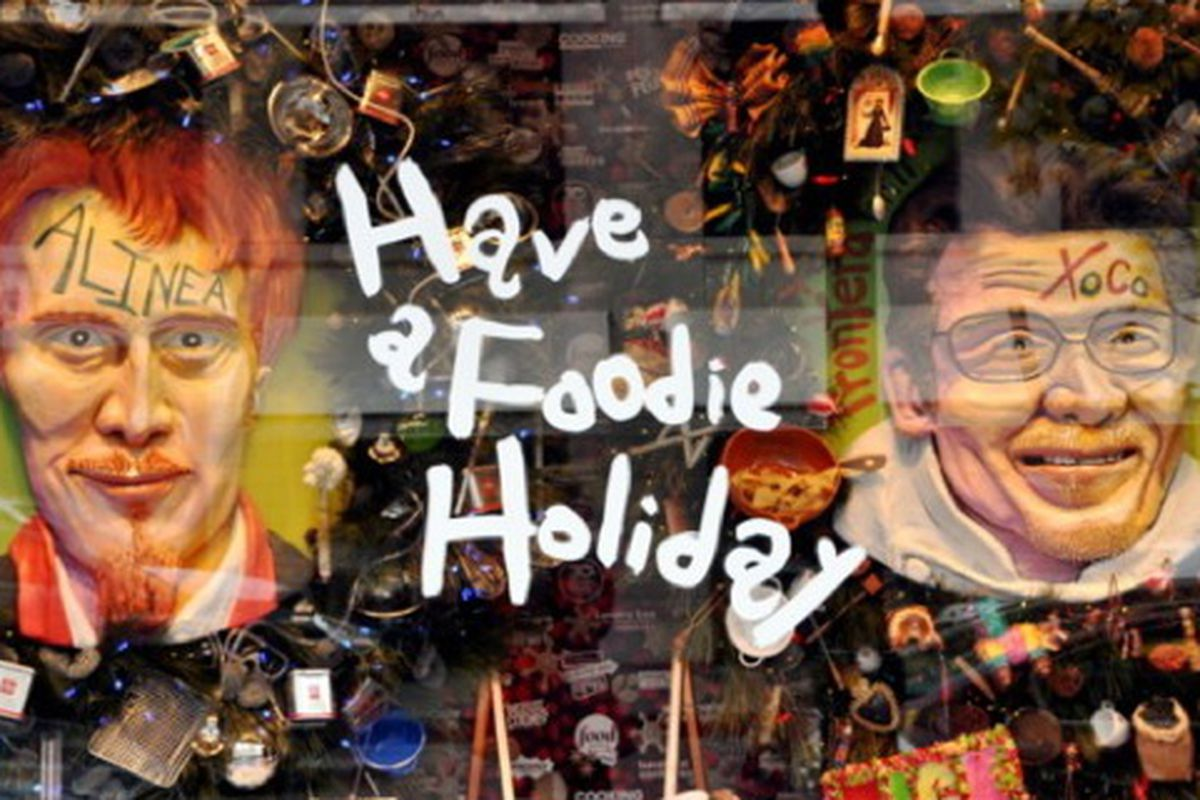 """Barneys New York's """"Foodie Holiday"""" window display, featuring top chefs Grant Achatz and Rick Bayless. Image via <a href=""""http://foodietheapp.tumblr.com/post/1611901537/foodie-windows-at-barneys-new-york"""">Foodie</a>."""