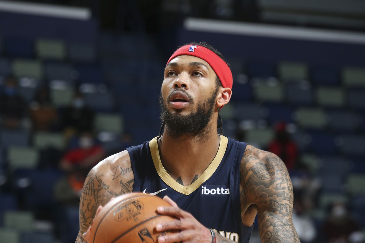 Brandon Ingram of the New Orleans Pelicans shoots a free throw during the game against the Phoenix Suns on February 3, 2021 at the Smoothie King Center in New Orleans, Louisiana.