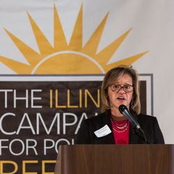 Rep. Robin Kelly, D-Ill speaks June 7 during a luncheon at the Standard Club of Chicago hosted by the Illinois Campaign for Political Reform.   Lou Foglia/Sun-Times