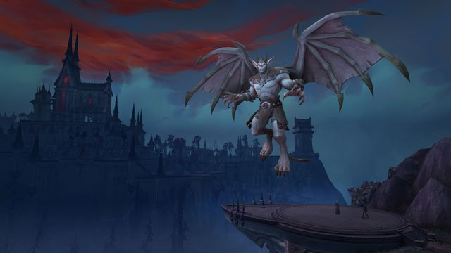 World of Warcraft - a winged living gargoyle hangs out outside a castle