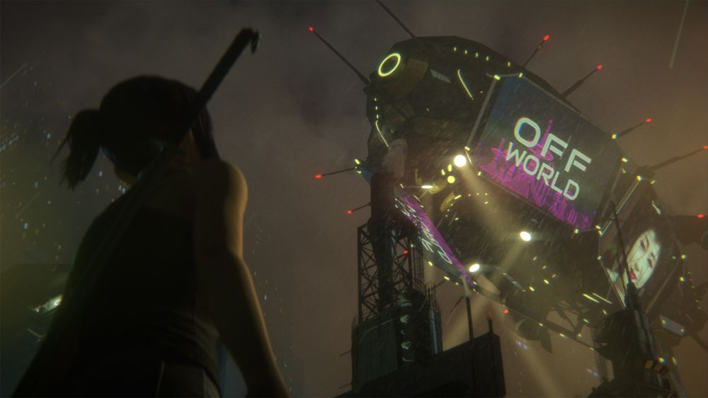 Blade Runner Black Lotus: A woman looks up at a future blimp
