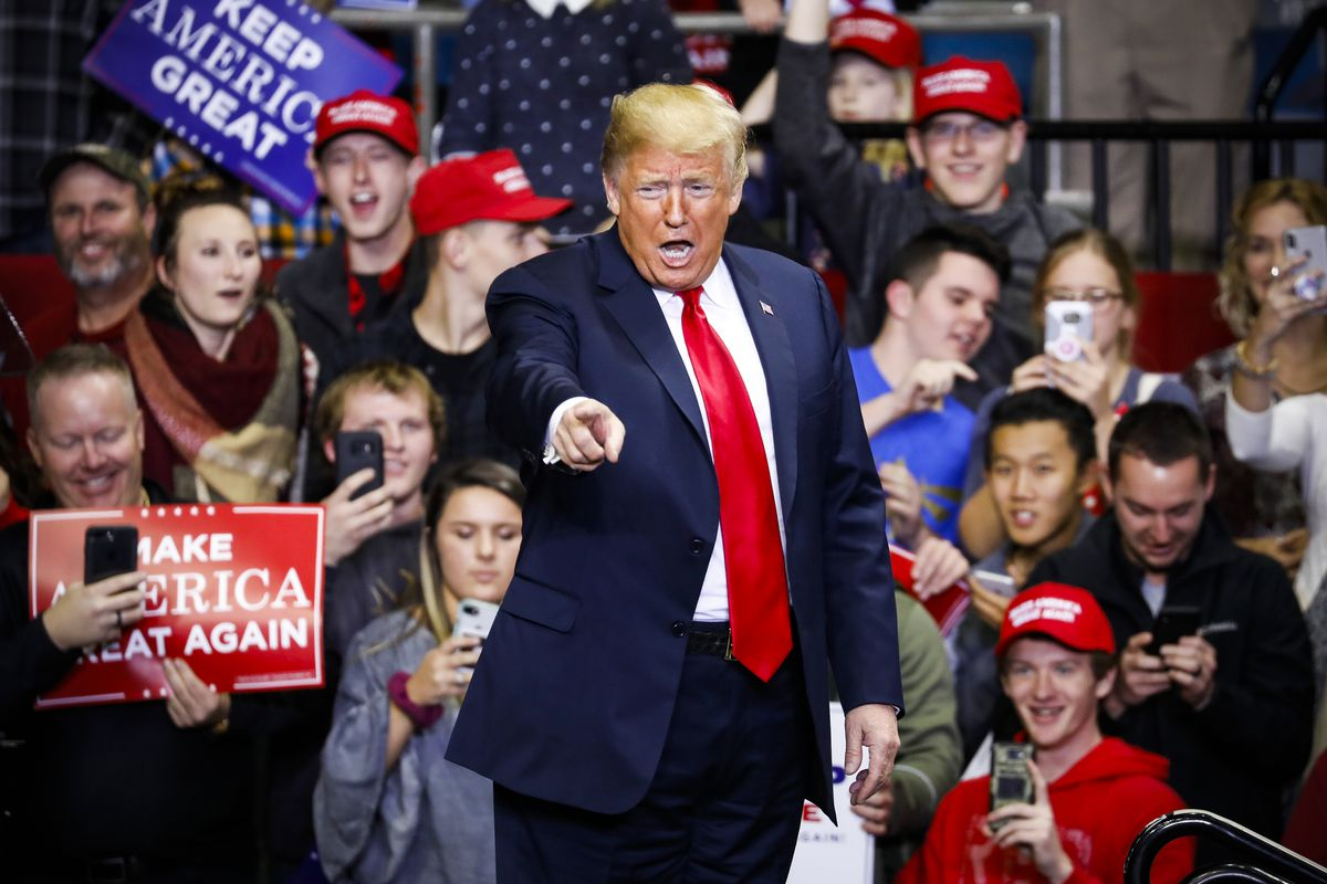 President Trump arrives at a campaign rally for Republican Senate candidate Mike Braun in Fort Wayne, Indiana, on November 5, 2018.