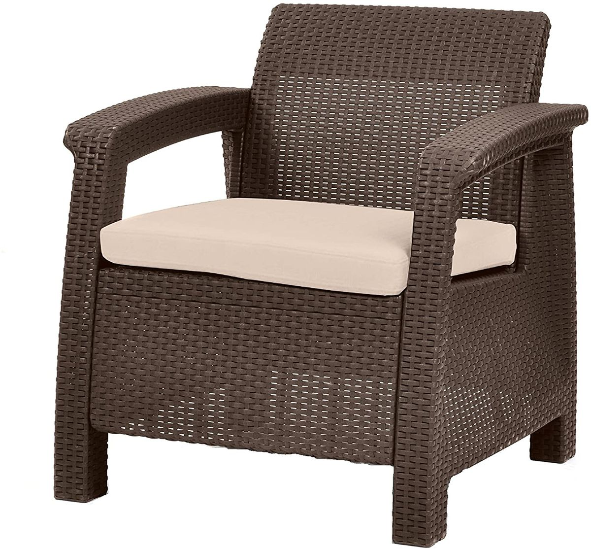 Brown woven chair.