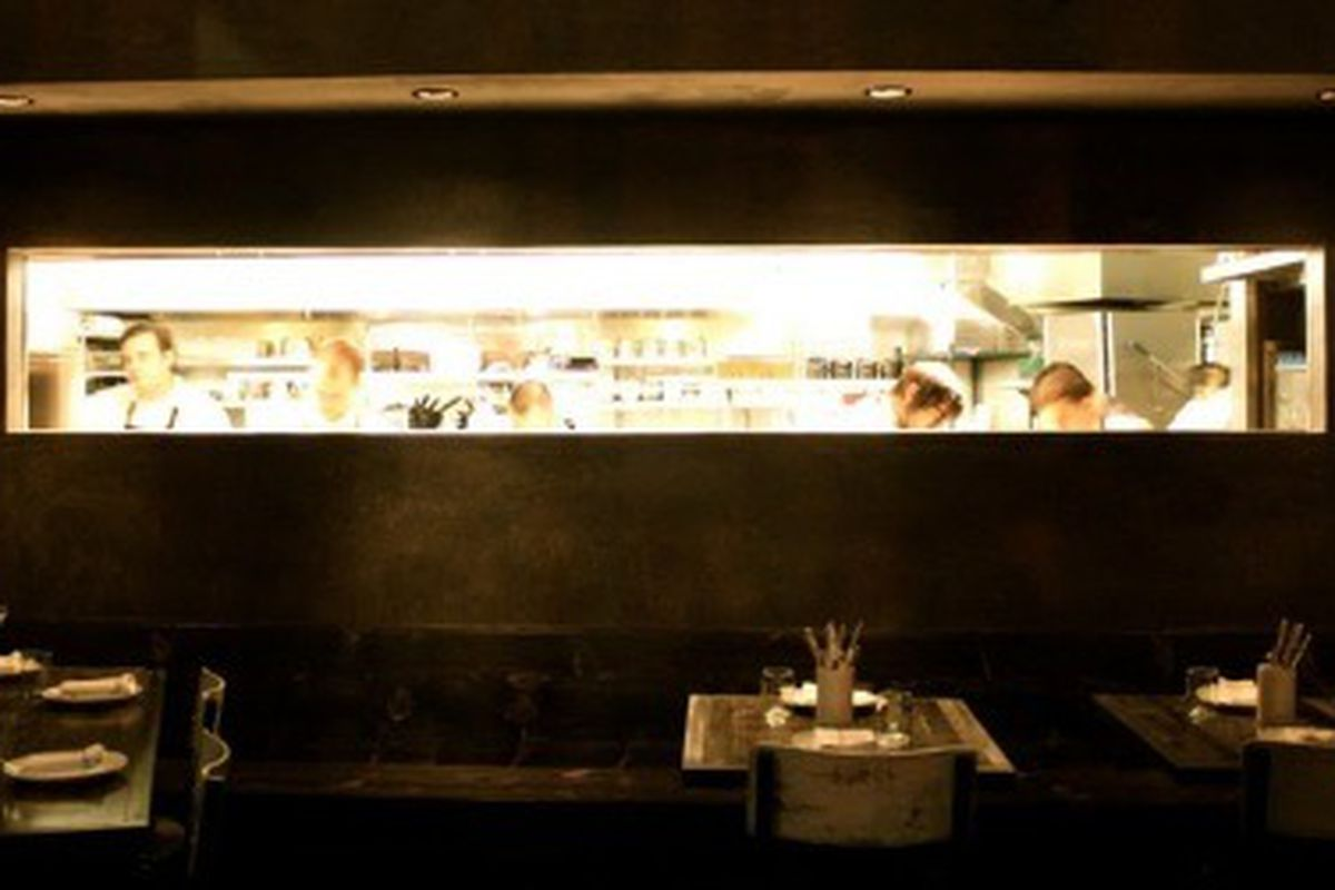 Peering into the kitchen at Red Medicine, Beverly Hills.