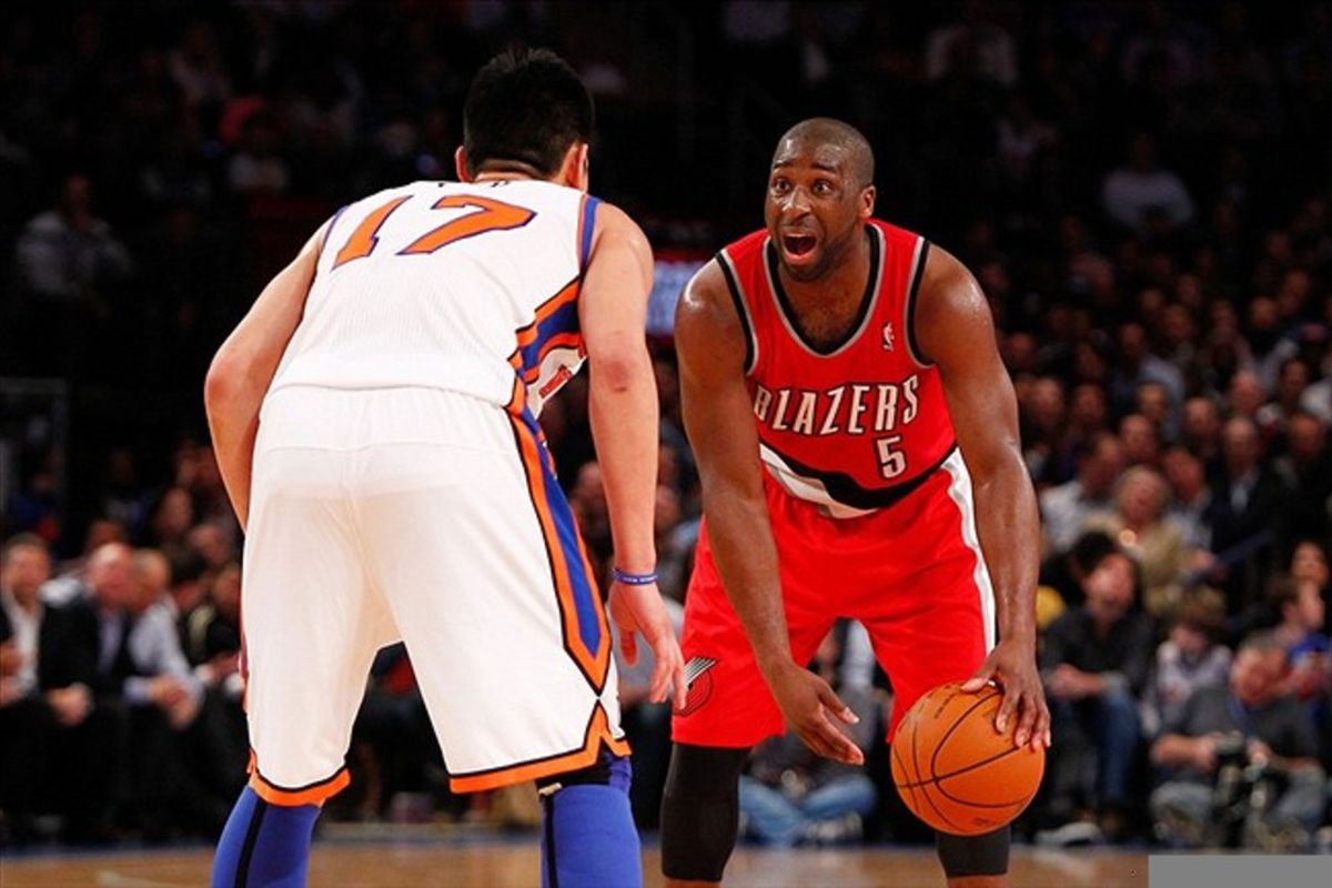 Mar. 14, 2012; New York, NY, USA; New York Knicks point guard Jeremy Lin (17) guards Portland Trail Blazers point guard Raymond Felton (5) during the first quarter at Madison Square Garden.  Mandatory Credit: Debby Wong-US PRESSWIRE
