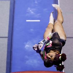 Utah's Cammy Hall competes on the vault during a meet against Arizona at the Huntsman Center in Salt Lake City on Saturday, Jan. 23, 2021.