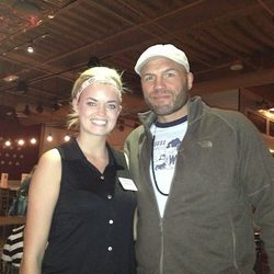 Randy Couture with staff member at Meatball Spot last Tuesday. Photo: Courtesy of Meatball Spot