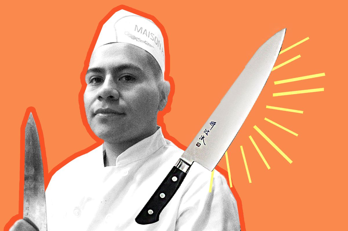 Line cook Orlando Velasquez with his Togiharu gyutou
