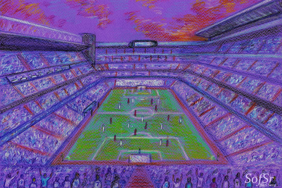 Santiago Bernabeu Stadium. Illustration by Sofi Serg.