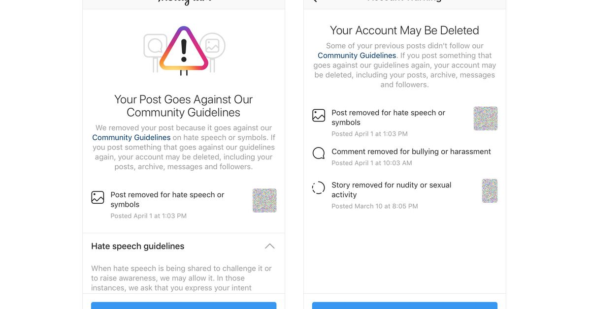 Instagram will now warn users close to having their account