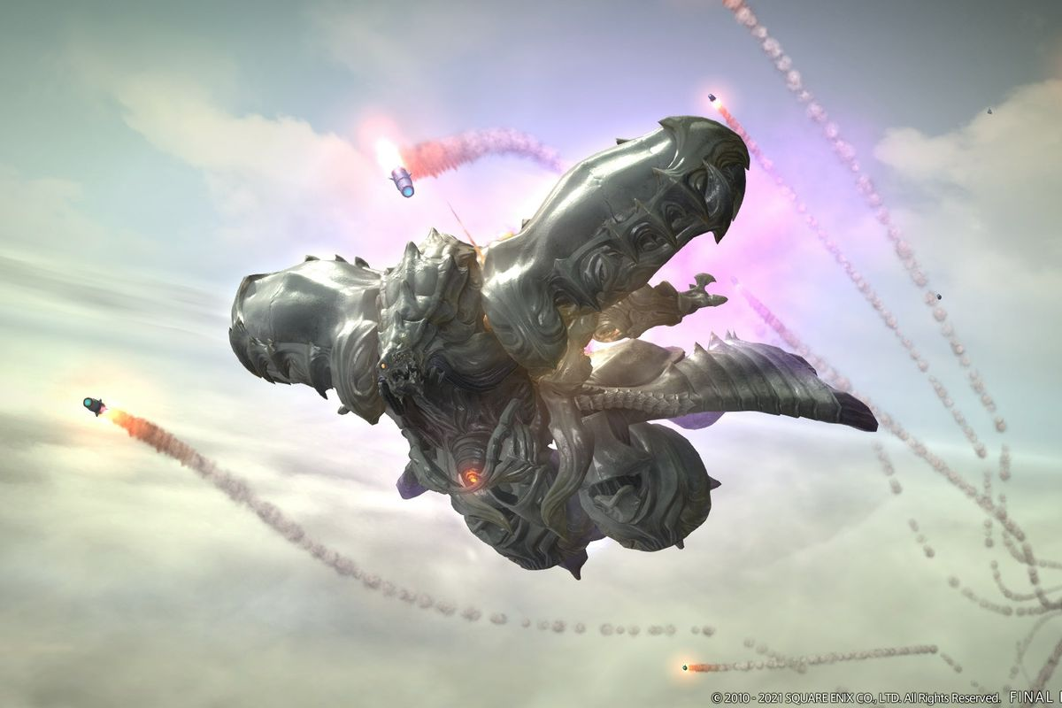 Several missiles chase after Diamond Weapon flying in the sky