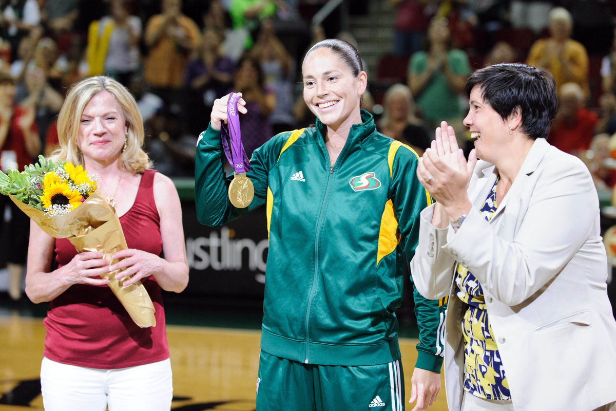 """Seattle Storm President and CEO Karen Bryant (right) recently told fans in a letter that the team """"wholeheartedly supports efforts to bring the NBA back to Seattle.""""<em> Photo by Steven Bisig-US PRESSWIRE.</em>"""