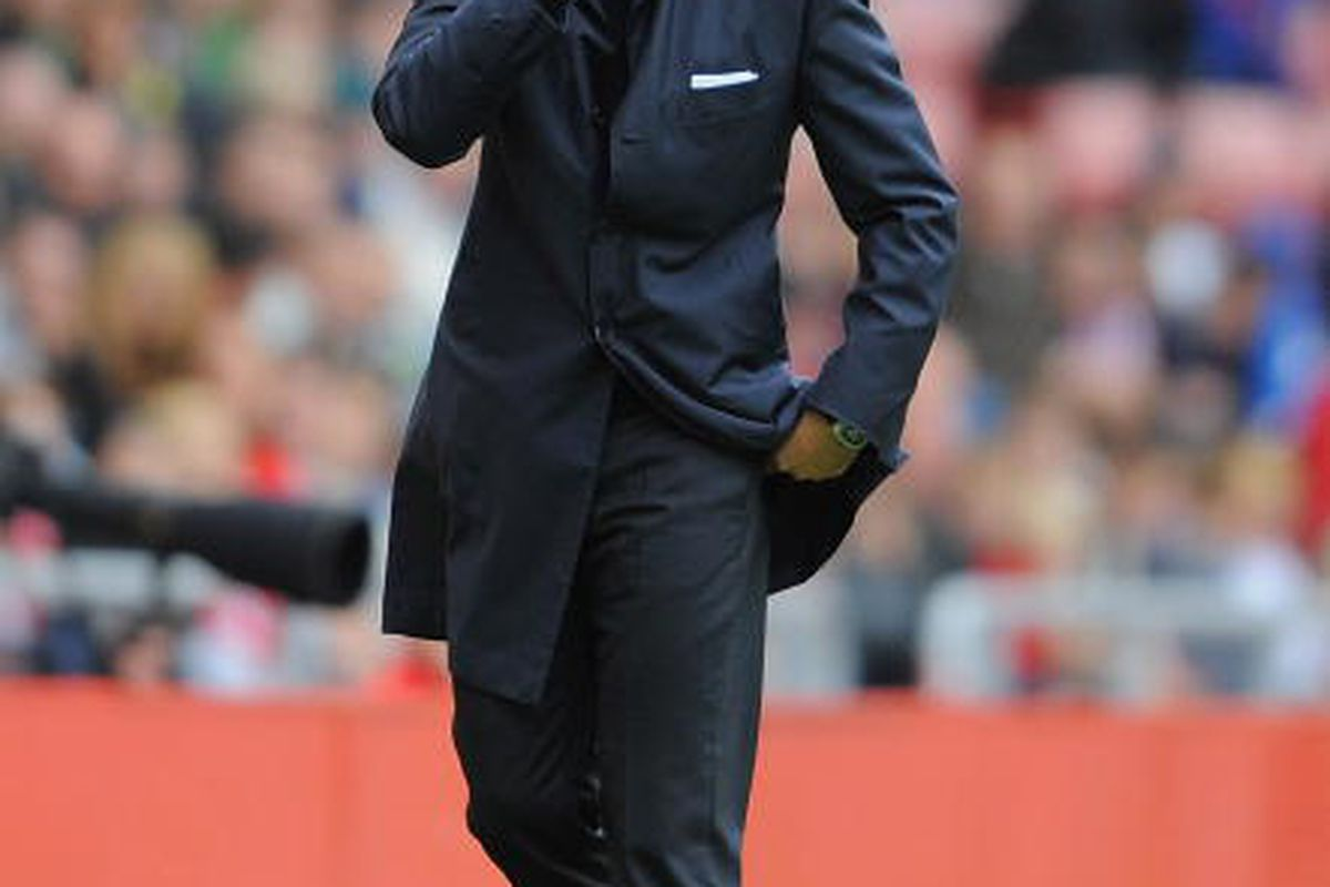Roberto Mancini looks on at Sunderland.