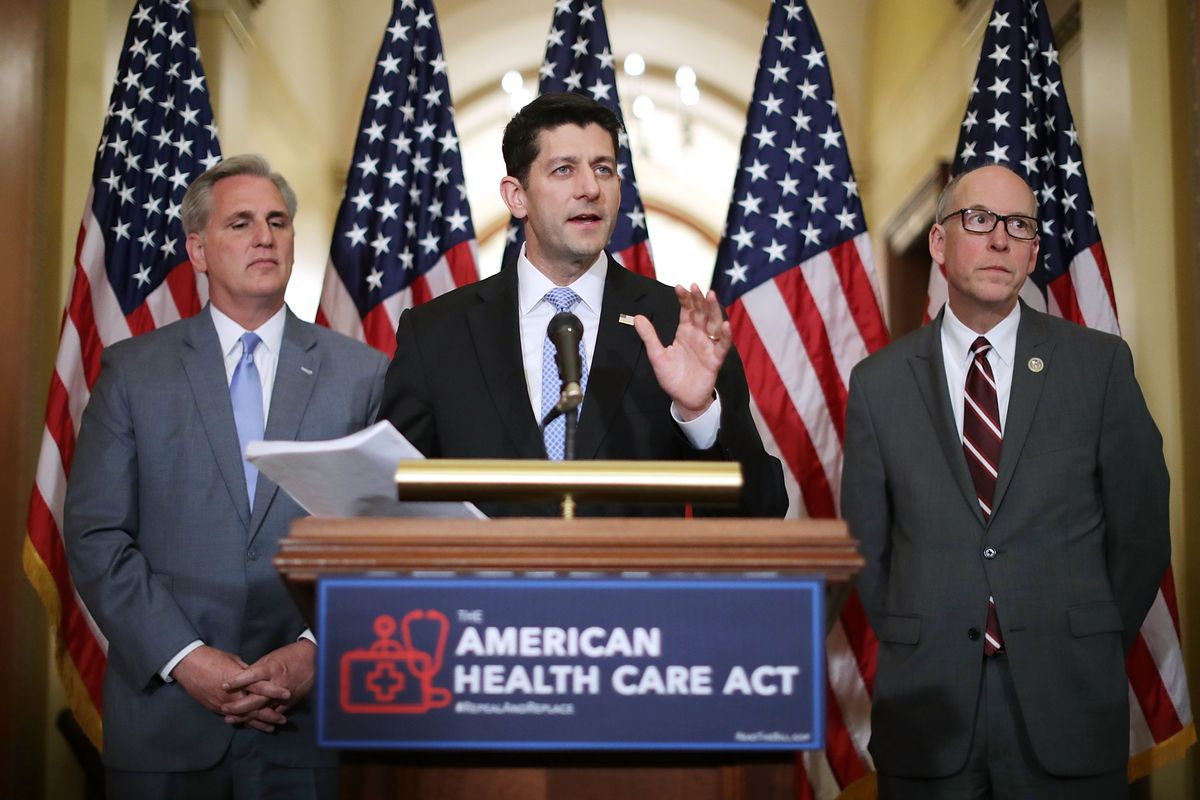 House Speaker Paul Ryan, at podium, introduces the American Health Care Act