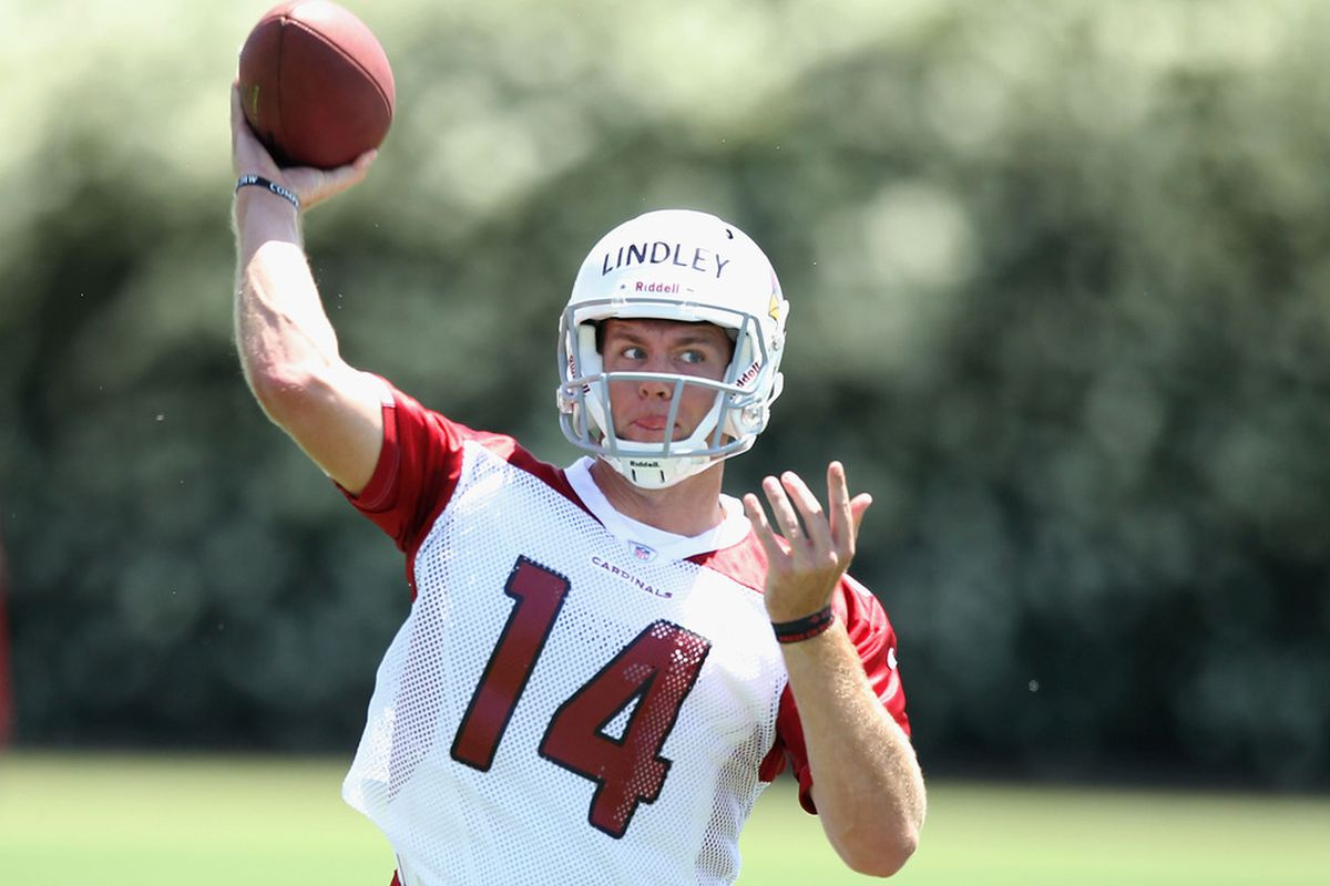 TEMPE, AZ - MAY 11:  Quarterback Ryan Lindley #14 of the Arizona Cardinals practices in the minicamp at the team's training center facility on May 11, 2012 in Tempe, Arizona.  (Photo by Christian Petersen/Getty Images)