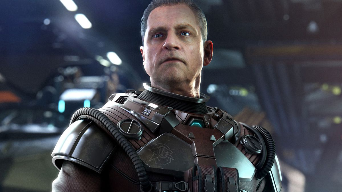Mark Hamill in a flight suit in an early image from Star Citizen's Squadron 42 product.