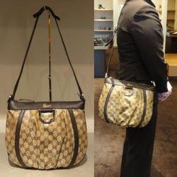 "<a href=""http://cgi.ebay.com/New-Gucci-Crystal-GG-D-Gold-Messenger-Handbag-Purse-/180684924958?pt=US_CSA_WH_Handbags&hash=item2a11a9281e#ht_8380wt_1141"" rel=""nofollow"">Gucci ""Crystal"" messenger bag</a>, currently at $489 on eBay"
