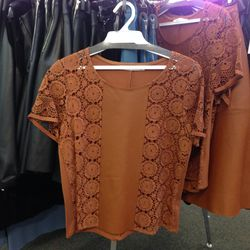 Bailey44 top with leather and crochet panels, $60