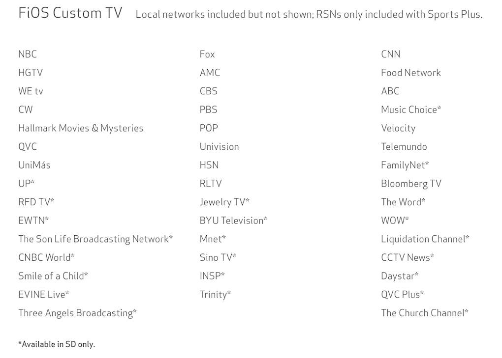Custom TV core channels