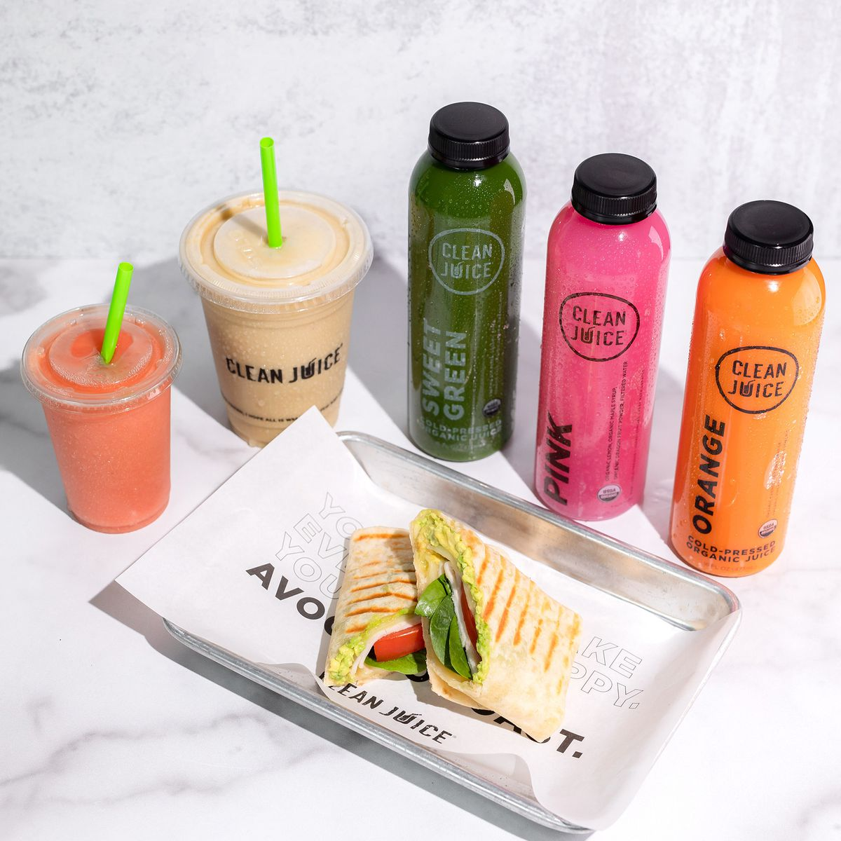 Colorful smoothies, cold-pressed juices, and wraps from Clean Juice.