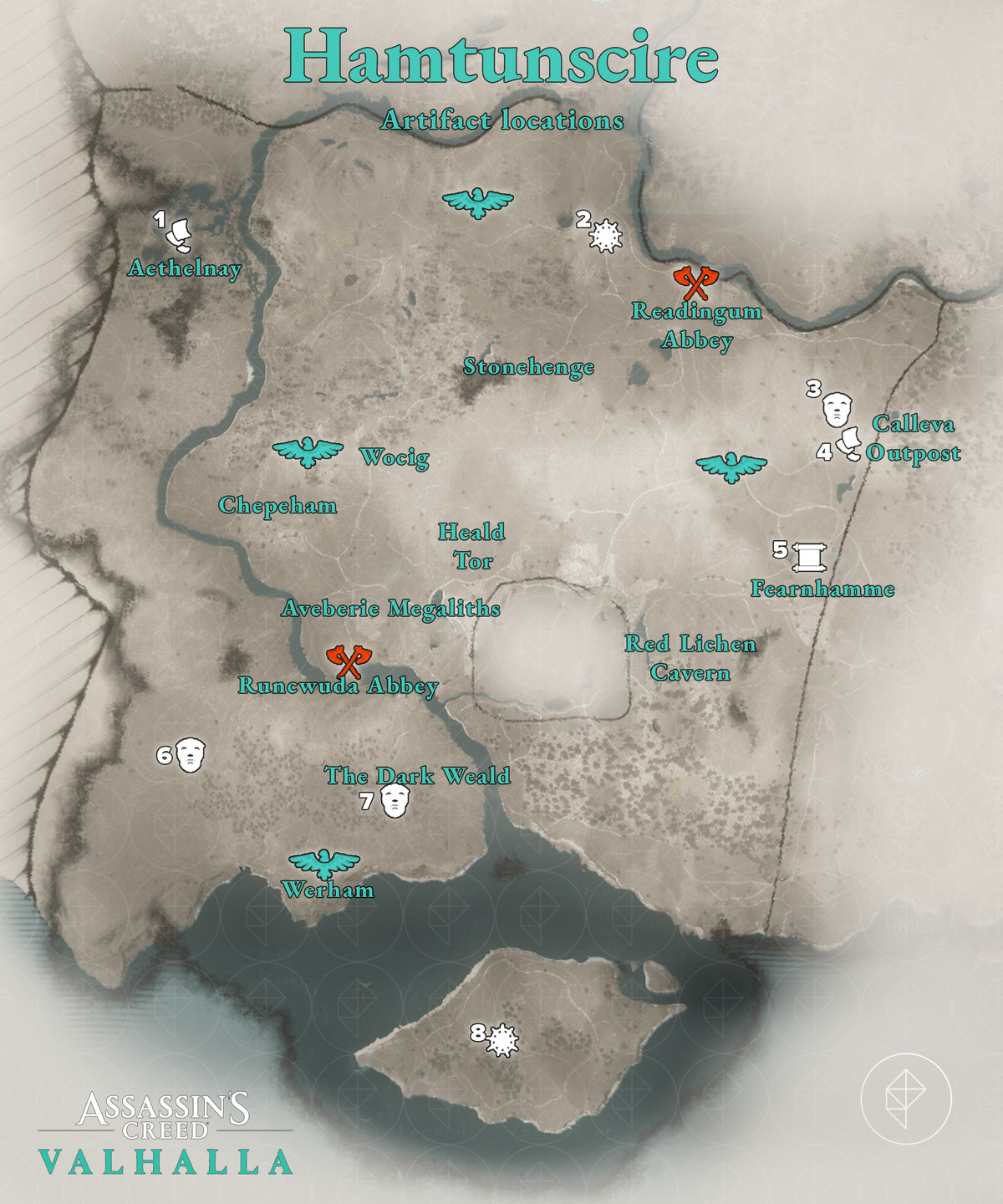 Hamtunscire Artifacts locations map