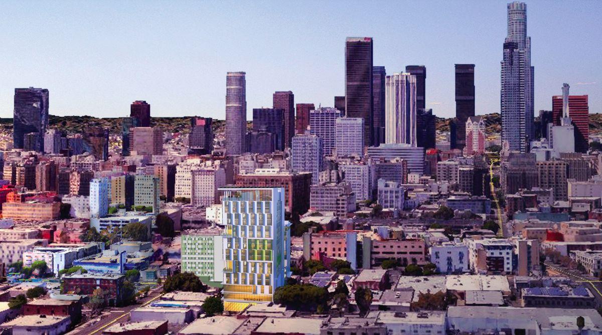 View of Weingart Towers amid LA skyline