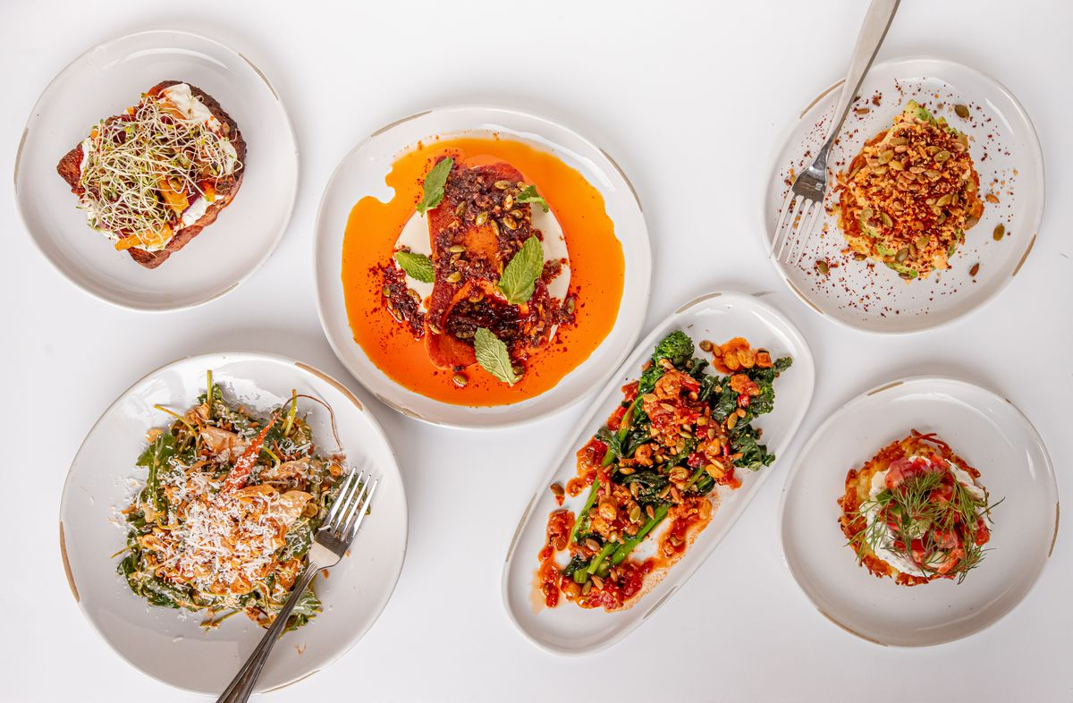 Colorful vegetable small plates, salads, toasts, and rostis from Leni