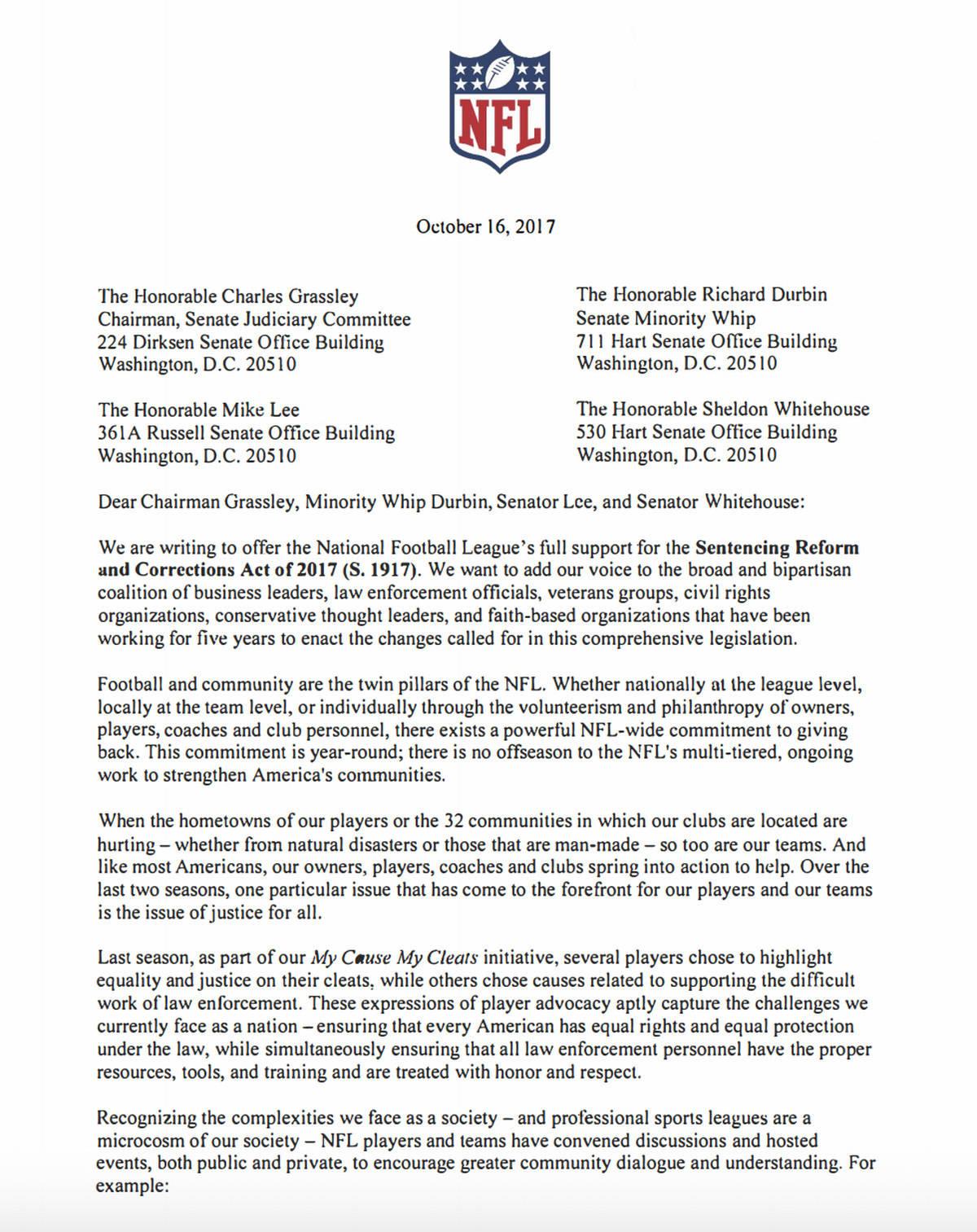 Nfl To Formally Endorse Criminal Justice Reform Bill  SbnationCom