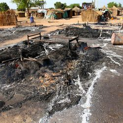 This photo of Saturday, April 14, 2012, shows  the aftermath of a bombing by the Sudanese Air Force in Bentiu, South Sudan. Two Sudanese Sukhoi fighters dropped 6 bombs in the Bentiu area, killing five and wounding four others. Sudan and the newly formed South Sudan continued to battle Monday April 16 2012 over a disputed oil rich border area.