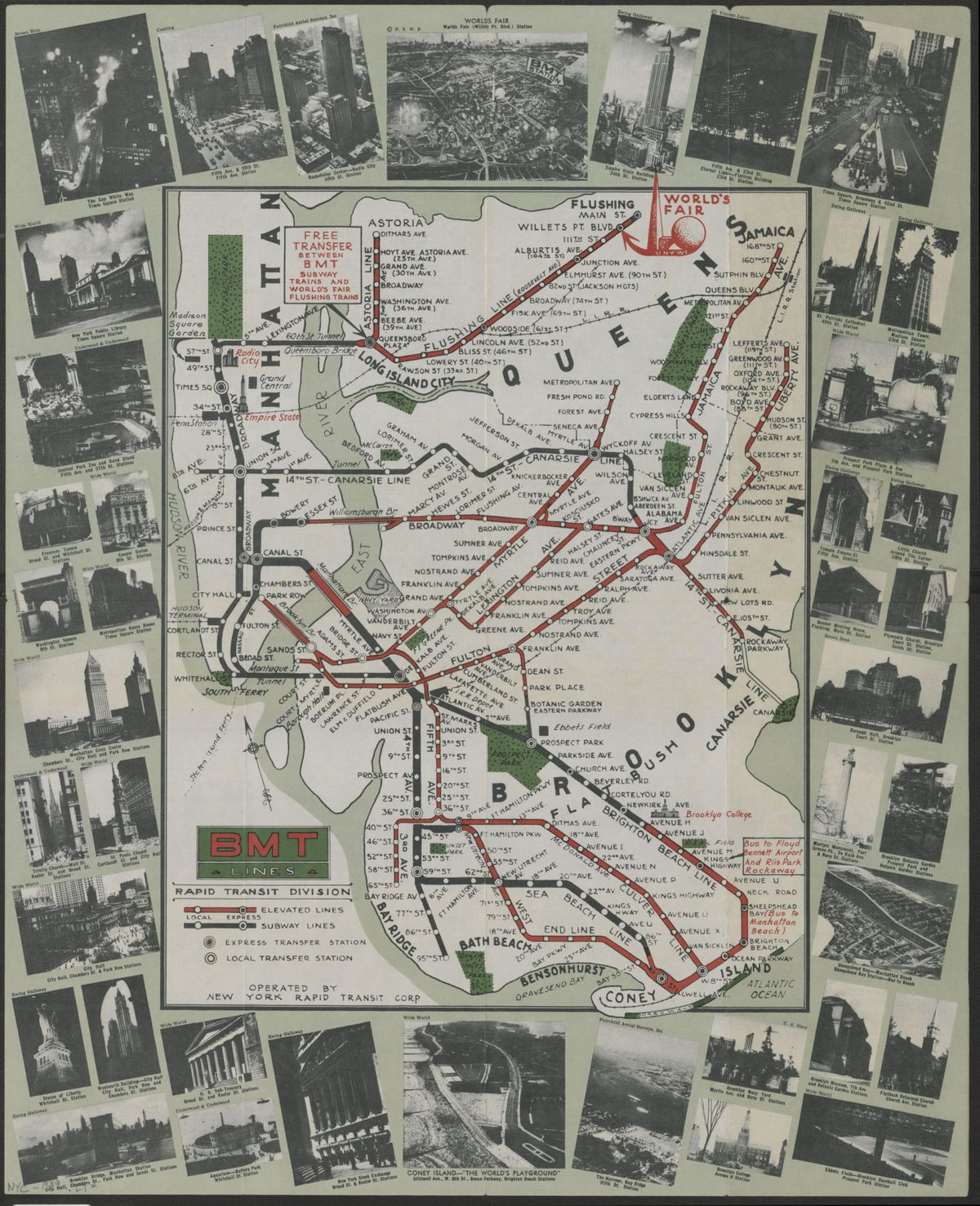A busy red and green map of several subway routes snaking through Manhattan, Brooklyn and Queens in 1939. The map is surrounded by a border of black and white photographs of New York City landmarks.