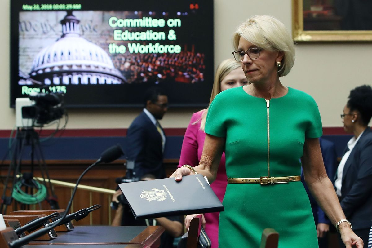 WASHINGTON, DC - MAY 22:  Education Secretary Betsy DeVos arrives to testify before a House House Education and the Workforce Committee on Capitol Hill, May 22, 2018 in Washington, DC. The hearing focus is on examining the policies and priorities of the U.S. Department of Education.  (Photo by Mark Wilson/Getty Images)