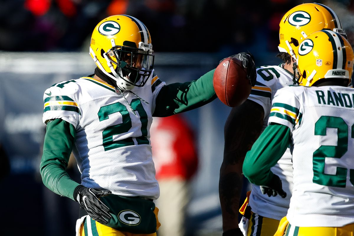 HaHaClinton-Dix, then with the Packers, reacts after making an interception against the Bears in 2016.