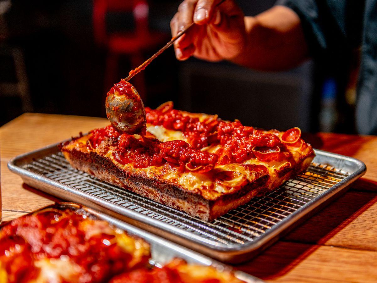 Detroit original pepperoni pizza at Red Light