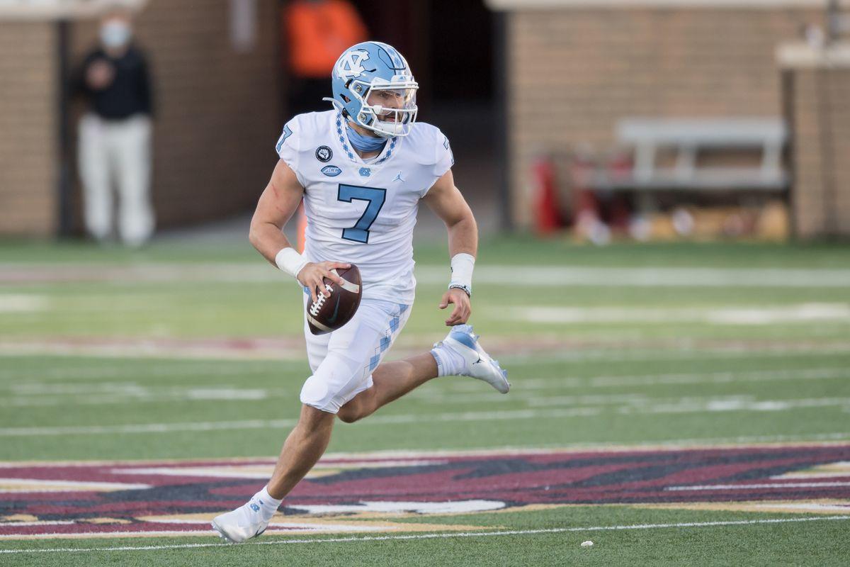 North Carolina Tar Heels quarterback Sam Howell (7) looks to pass against the Boston College Eagles at Alumni Stadium. Mandatory Credit: Adam Richins
