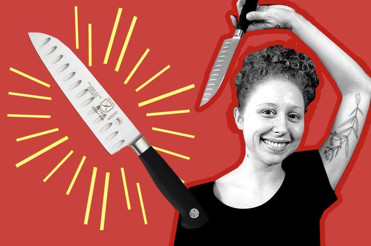 Chef Allie Brodt with her Mercer santoku knife