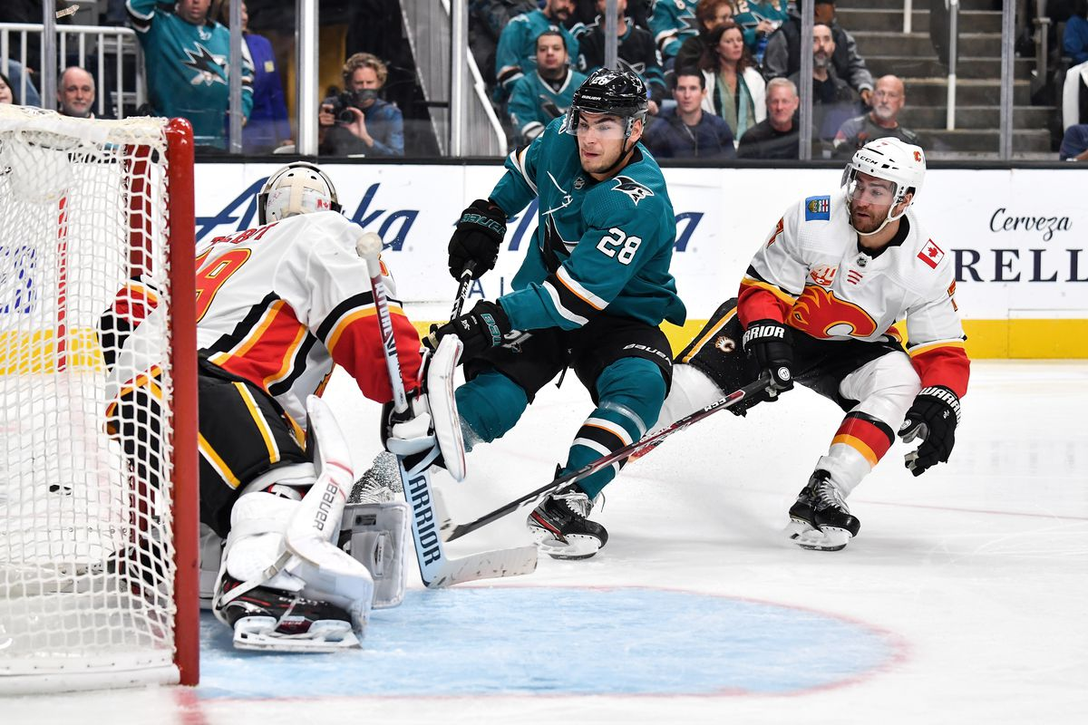 Timo Meier #28 of the San Jose Sharks drives on the net against Cam Talbot #39 of the Calgary Flames at SAP Center on October 13, 2019 in San Jose, California.