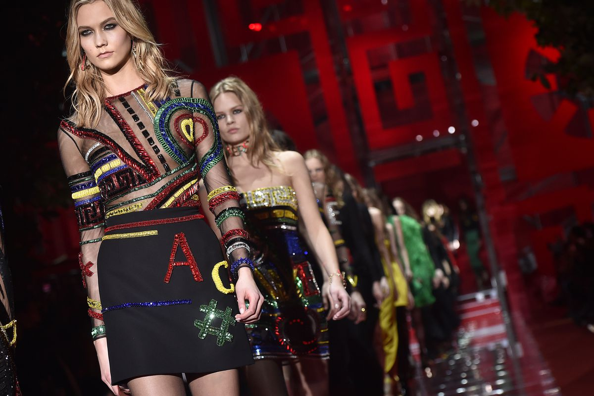 A look from Versace's fall 2015 runway