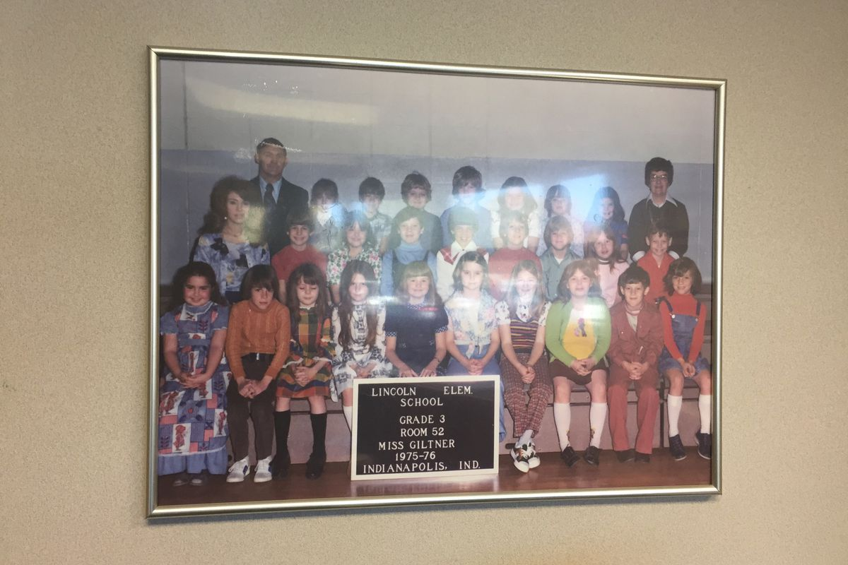 Before she became principal, Whitney Wilkowski attended Abraham Lincoln Elementary School in the mid-1970s. Pictured here is her third-grade class portrait, which hangs in her office.